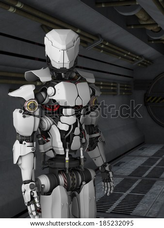 A futuristic robot standing in a science fiction inspired corridor. - stock photo