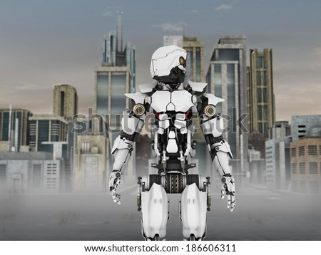 A futuristic robot standing in front of a science fiction inspired city.