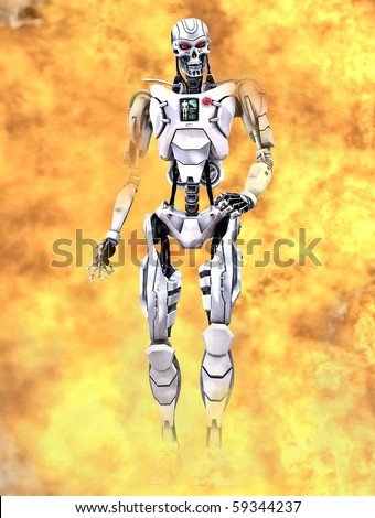 A futuristic robot - The terminator walking through flames. As seen in the hollywood movie / film
