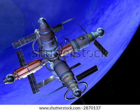 A futuristic space station for research lab - stock photo