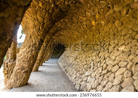A gallery in the Park Guell - Barcelona, Spain - stock photo