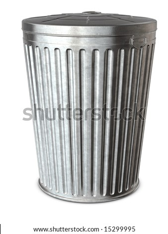 A galvanized trash can on a white background with clipping path - stock photo