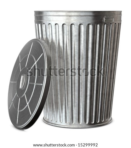 A galvanized trash can with the lid-off on a white background - stock photo