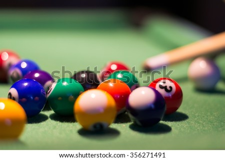 A game of billiards in close up