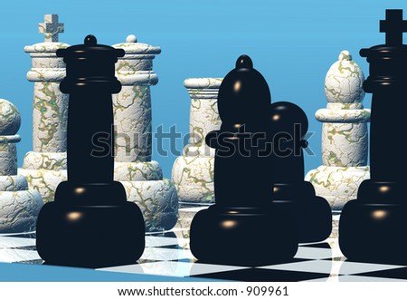 A game of chess in progress - stock photo