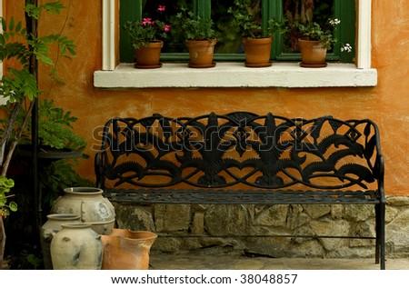 a garden bench - stock photo