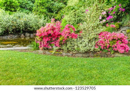 A garden scene with blooming azalea bushes and a pool