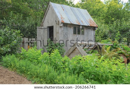 A garden shed with a damaged cucumber frame in a traditional English Country Fruit and Vegetable Garden at Rosemoor, close to Torrington, Devon, England, UK - stock photo