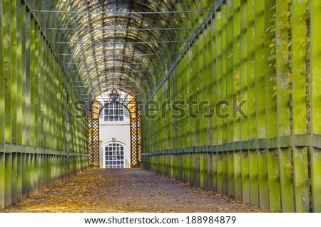 a garden tunnel in London, England - stock photo