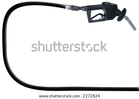 a gas pump and hose over a white background - stock photo