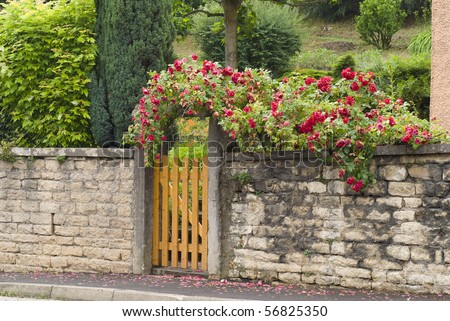 A gate, entrance to a front yard - stock photo