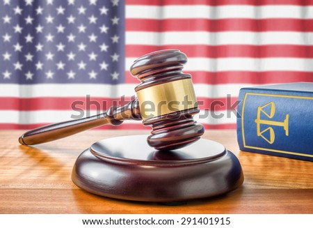 A gavel and a law book - USA - stock photo