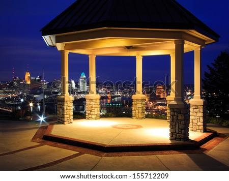 A Gazebo Overlooking The Cincinnati And Northern Kentucky Metroplex At Night, Covington Kentucky, USA - stock photo