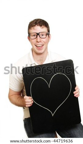 a geeky guy with love ont he mind - stock photo