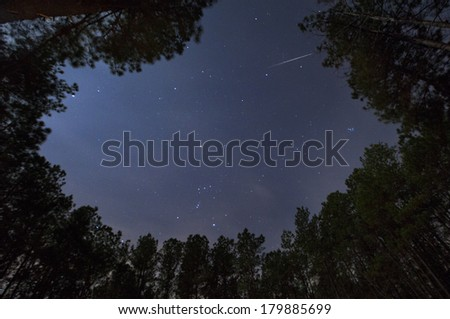 A Geminid Meteor in the night sky. - stock photo