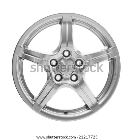 A Generic aluminum alloy wheel isolated on white