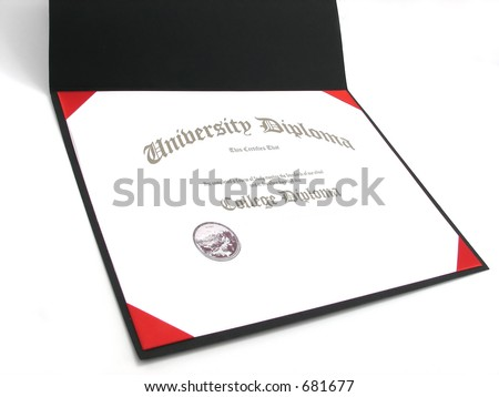 A Generic College diploma in a diploma frame - stock photo