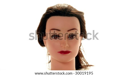 a generic hair dressers practice mannequin isolated on white - stock photo