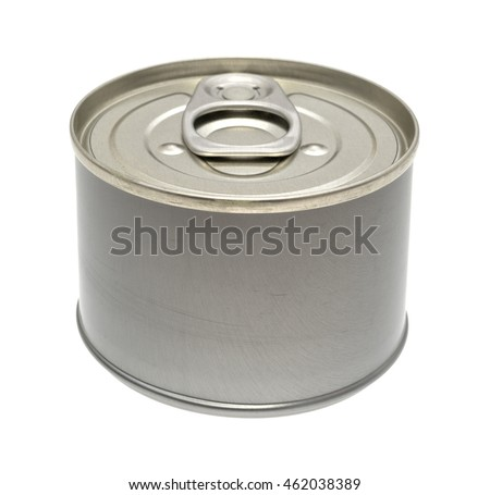 A generic small can of food isolated on a white background.
