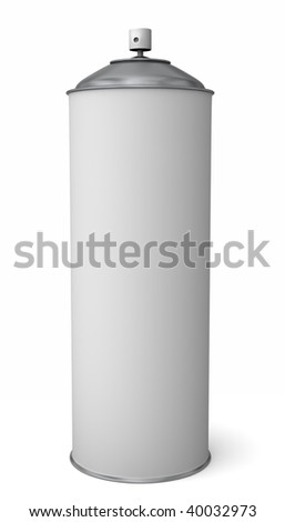 A generic spray can with blank label isolated on white - stock photo