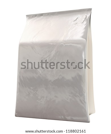 A generic unbranded soft pack product on an isolated background