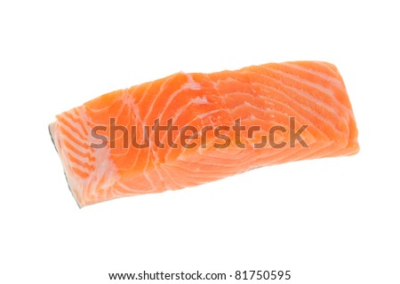 A Generous Slice Of Raw Salmon Meat Isolated On White Background - stock photo