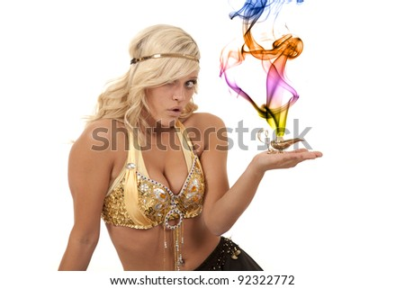 A genie holding on to her magic lamp with a shocked expression on her face. - stock photo
