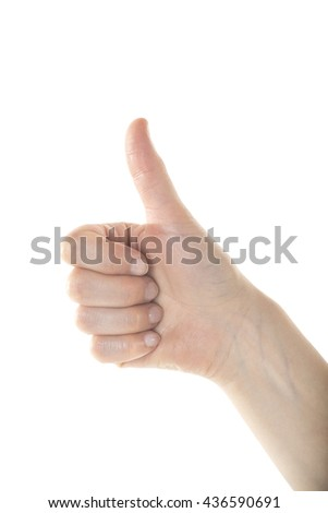 A gentle female hand is making OK sign with her right hand on isolated white background.