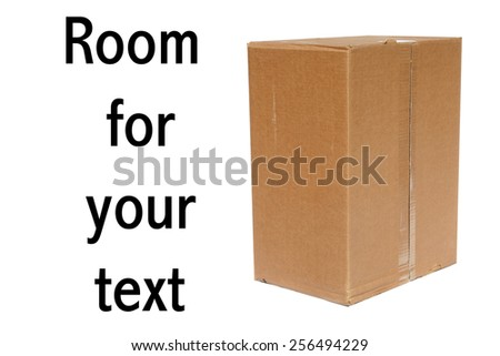 A genuine Cardboard Box isolated on white with room for your text - stock photo