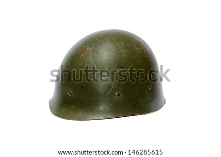 A genuine Vintage WWII (world war two) Army Helmet isolated on white. The perfect image for all your WWII image needs - stock photo