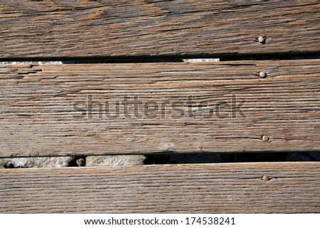 A genuine well used old walked on Wood Plank Board Walk. The perfect Wood Plank Background for all your Old Wood Background needs. Perfect for wall papers, screen savers, websites, books and more. - stock photo