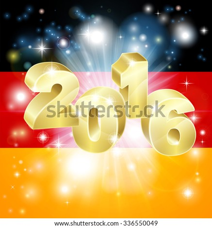 A German flag with 2016 coming out of it with fireworks. Concept for New Year or anything exciting happening in Germany in the year 2016. - stock photo