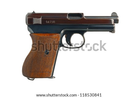A German 7.65mm semi-automatic pocket pistol from 1934. - stock photo