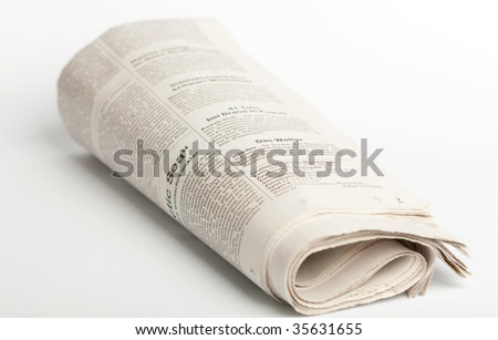 A german newspaper isolated on white background - stock photo