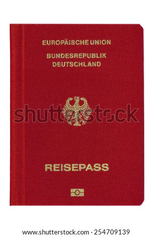 A German passport, isolated on white background, red front cover - stock photo