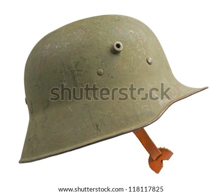 A German World War One (Stahlhelm M1918) military helmet. The Stahlhelm made its first appearance at the Battle of Verdun in February 1916. - stock photo