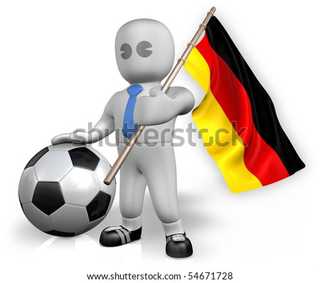 A Germany football fan with a ball and a flag - stock photo