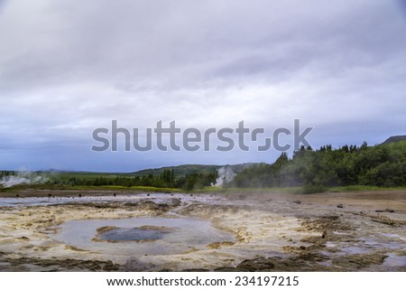 A Geyser in Iceland - stock photo