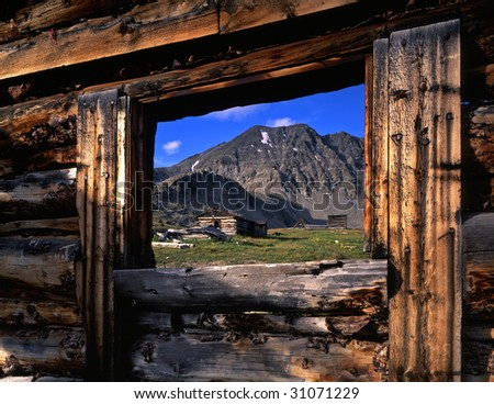 A ghost town in the mountains. - stock photo
