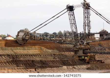 A giant bucket wheel excavator digging lignite in an open-cast mine