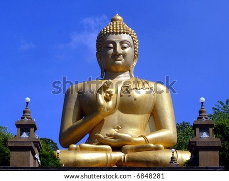 A giant Buddha statue in Thailand. - stock photo