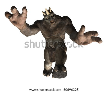 A giant troll is attacking you - 3D render - stock photo