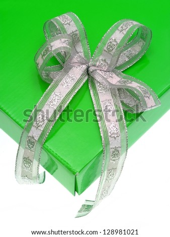 A gift box isolated against a white background