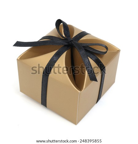 A gift box with black ribbon - stock photo
