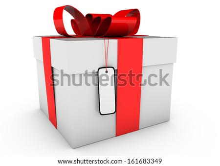 a gift box with red loop