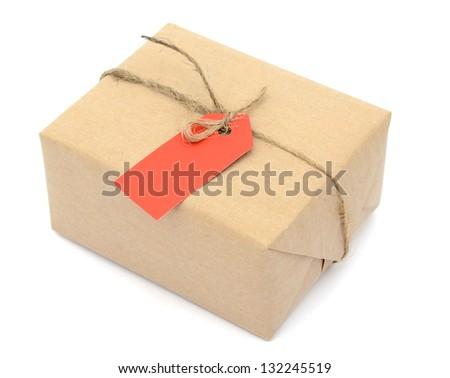 A gift box with red tag - stock photo