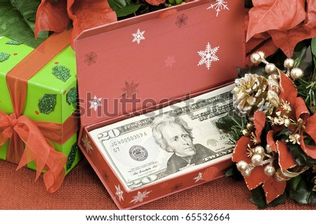 A gift of money for Christmas - stock photo