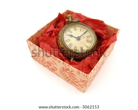 A gift of time: faux antique brass clock in a gift box