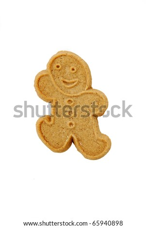A ginger bread man cookie on a white background