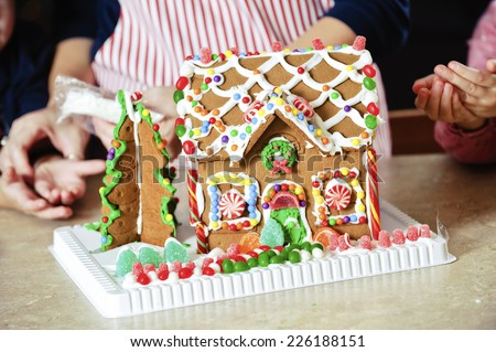 a gingerbread house / seen from close up position / it looks so yummy - stock photo